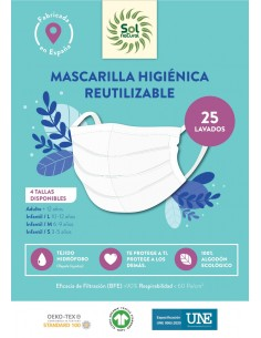 Mascarilla Higiénica Reutilizable - Adulto (+12 Años) - Sol Natural